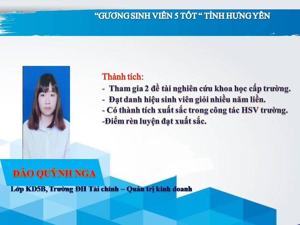 Gương sinh viên 5 tốt Đào Quỳnh Nga - trường ĐH Tài chính - Quản trị Kinh doanh
