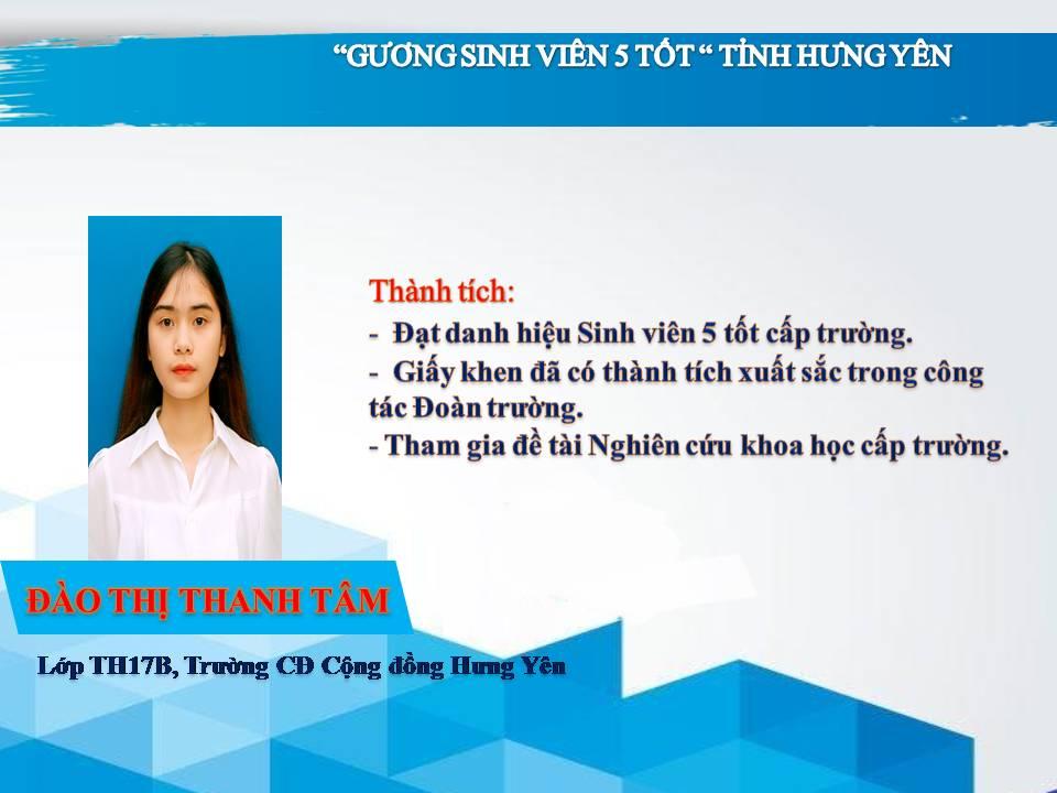 Gương sinh viên 5 tốt Đào Thị Thanh Tâm - Trường CĐ Cộng đồng Hưng Yên