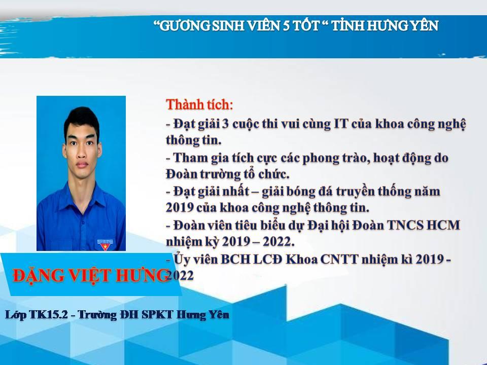 Gương sinh viên 5 tốt Đặng Việt Hưng - Trường ĐH Sư phạm Kỹ Thuật Hưng Yên