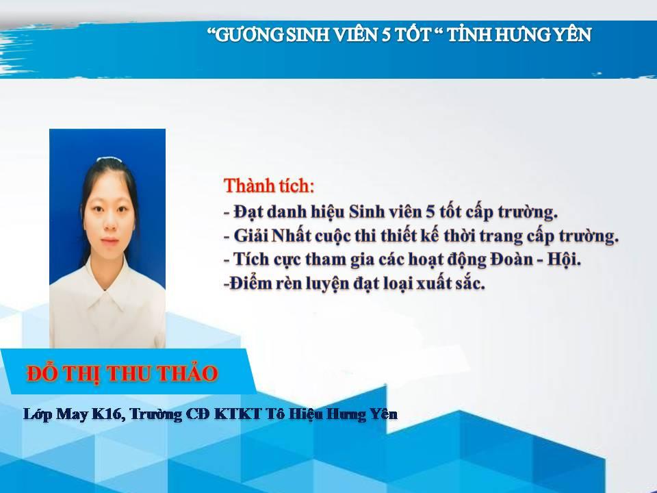 Gương sinh viên 5 tốt Đỗ Thị Thu Thảo - trường CĐ Kinh tế Kỹ Thuật Tô Hiệu Hưng Yên