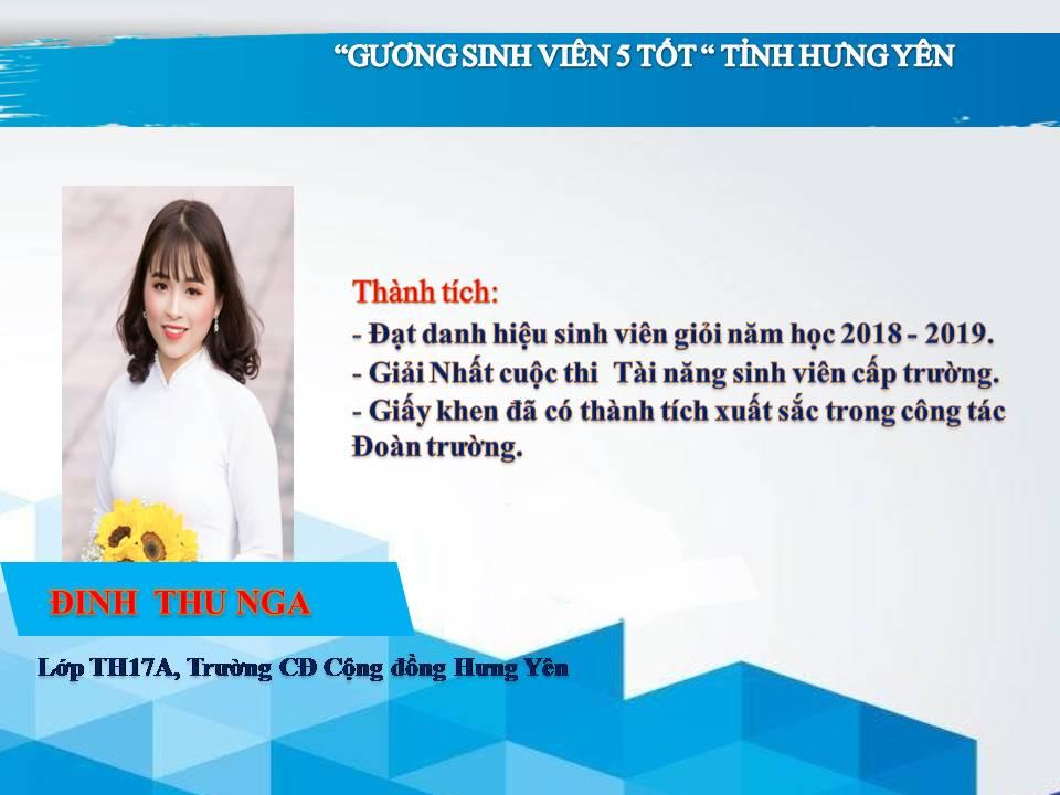 Gương sinh viên 5 tốt Đinh Thu Nga - trường CĐ Cộng đồng Hưng Yên