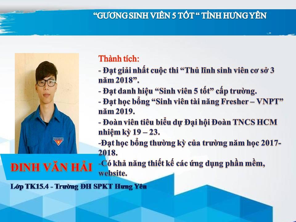 Gương sinh viên 5 tốt Đinh Văn Hải - trường ĐH Sư phạm Kỹ thuật Hưng Yên