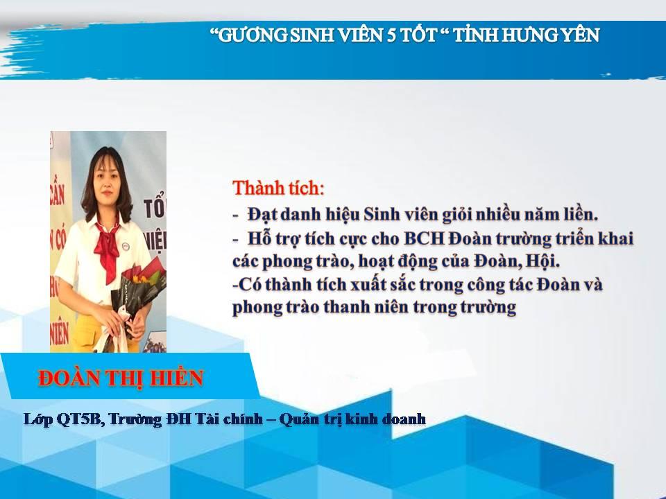 Gương sinh viên 5 tốt Đoàn Thị Hiền - trường ĐH Tài Chính - Quản trị Kinh doanh
