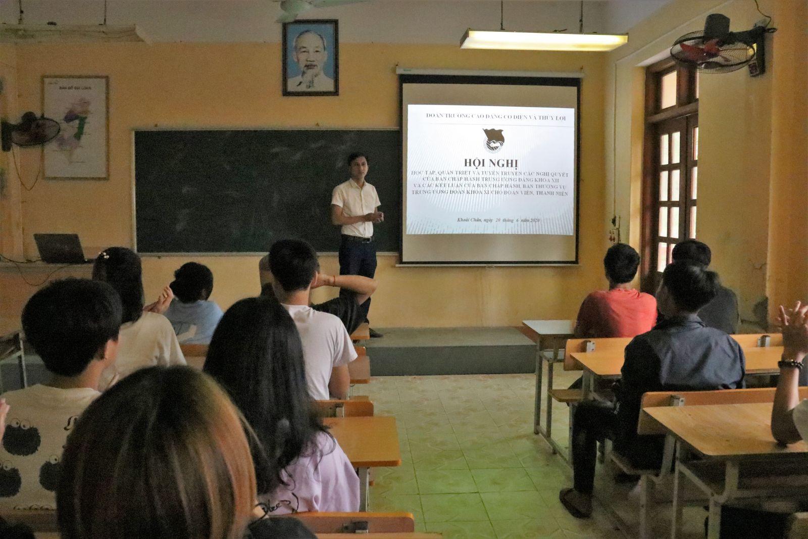 Đoàn trường Cao đẳng Cơ điện Thủy lợi tổ chức Hội nghị tuyên truyền các Nghị quyết của Đảng, Đoàn