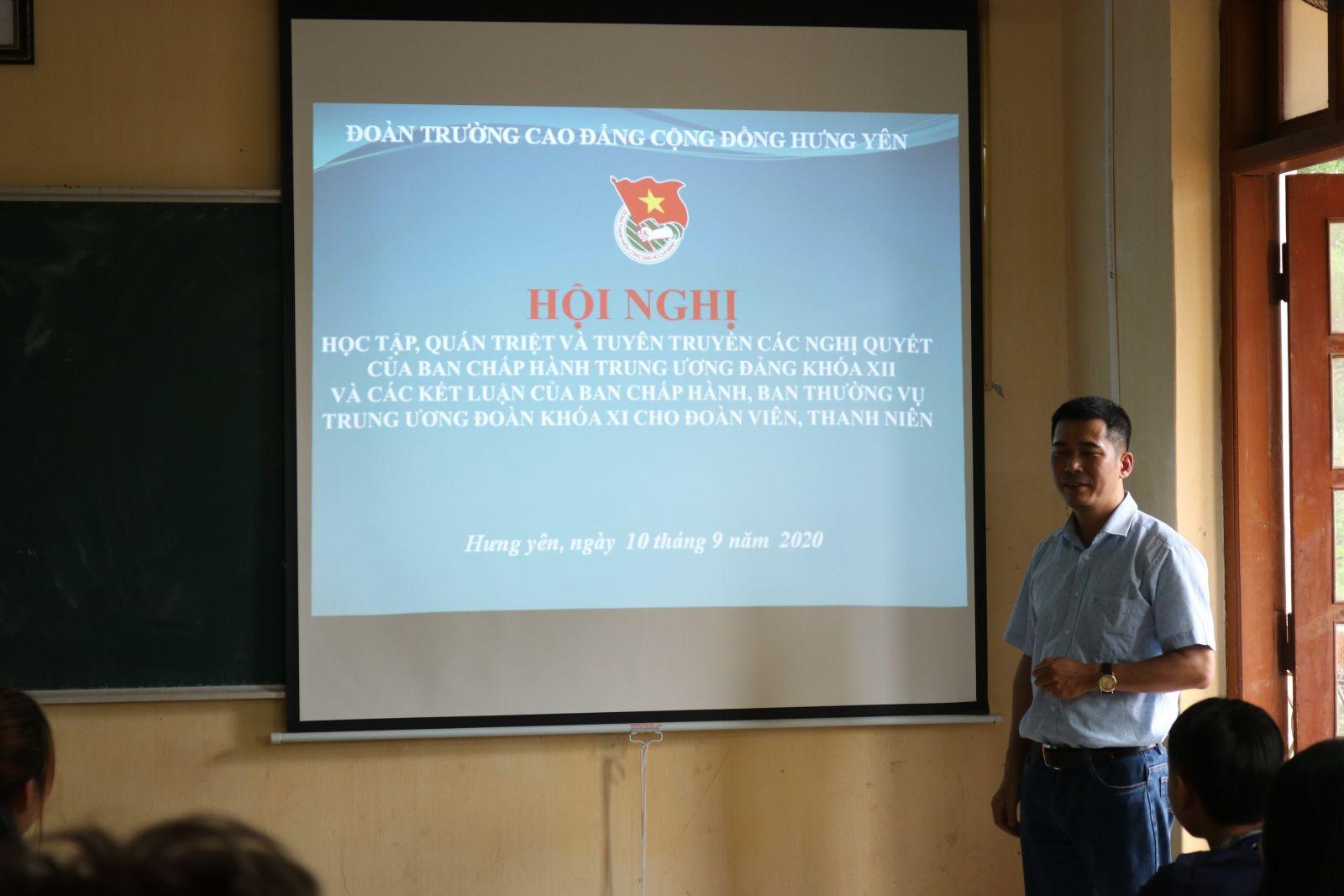 Đoàn trường Cao đẳng Cộng đồng Hưng Yên tổ chức Hội nghị tuyên truyền nghị quyết, chủ trương của Đảng, nghị quyết, kết luận chương trình của Đoàn năm học 2020 - 2021 cho đoàn viên thanh niên