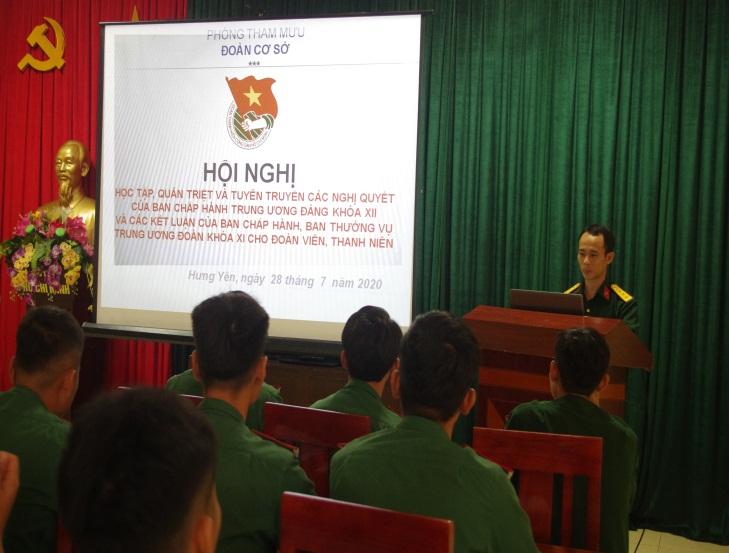 Đoàn Thanh niên Bộ CHQS tỉnh tổ chức hội nghị quán triệt, học tập chỉ thị, nghị quyết của các cấp năm 2020