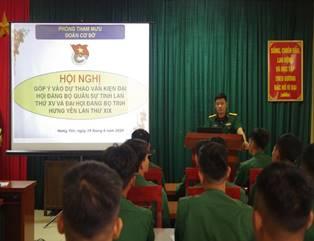 Đoàn TN Bộ CHQS tỉnh tổ chức Hội nghị góp ý vào Dự thảo văn kiện Đại hội Đảng