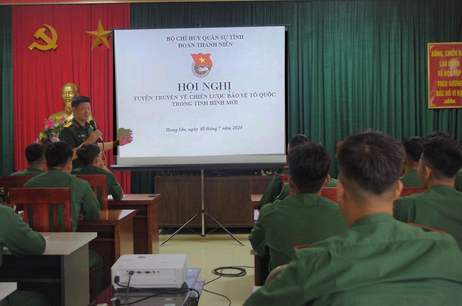 Đoàn Thanh niên Bộ CHQS tỉnh tổ chức Hội nghị tuyên truyền tổ chức Hội nghị tuyên truyền Chiến lược bảo vệ Tổ quốc trong tình hình mới