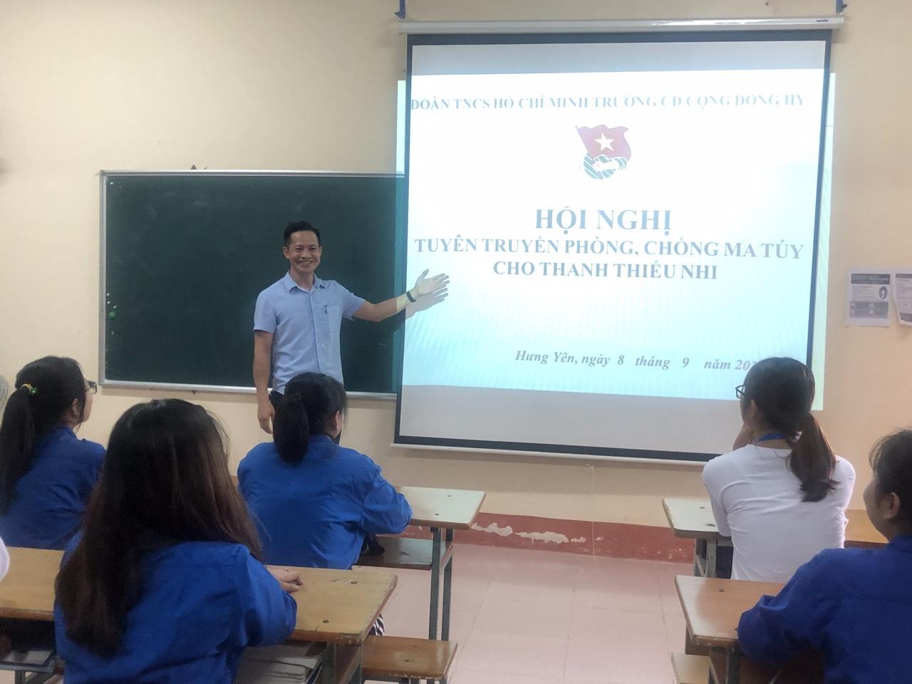Đoàn trường Cao đẳng Cộng đồng Hưng Yên tổ chức Hội nghị Tuyên truyền phòng, chống ma tuý