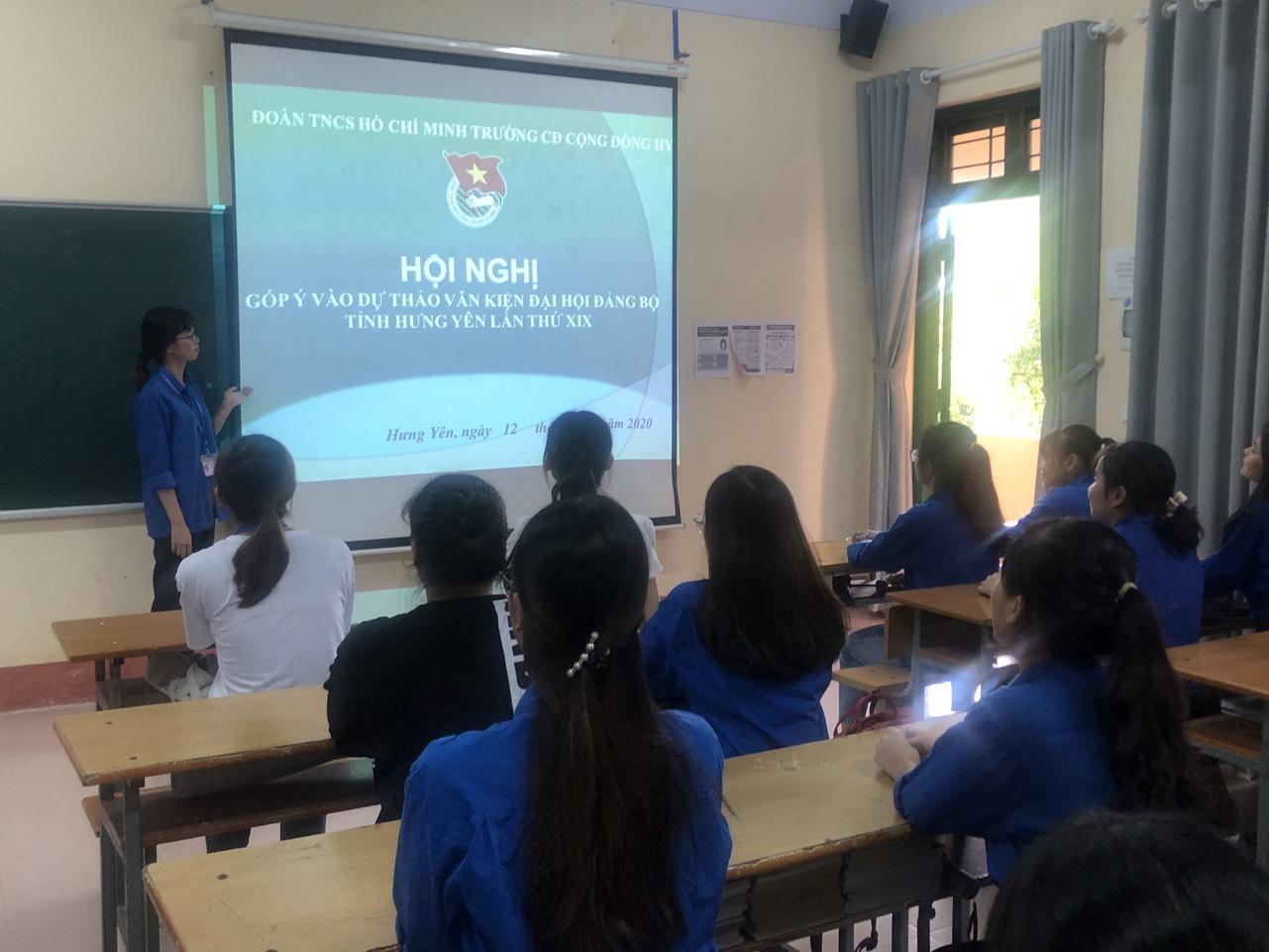 Đoàn trường Cao đẳng Cộng đồng Hưng Yên tổ chức Hội nghị góp ý vào Dự thảo văn kiện Đại hội Đảng