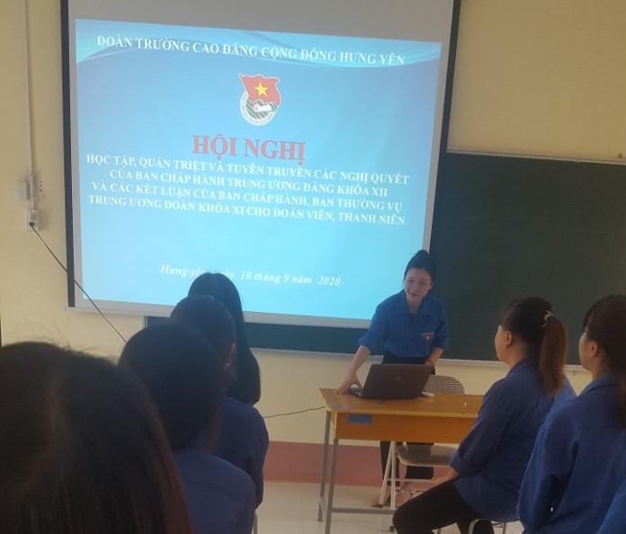 Đoàn trường Cao đẳng Cộng đồng Hưng Yên tổ chức Hội nghị tuyên truyền các Nghị quyết của Đảng, Đoàn cho cán bộ Đoàn