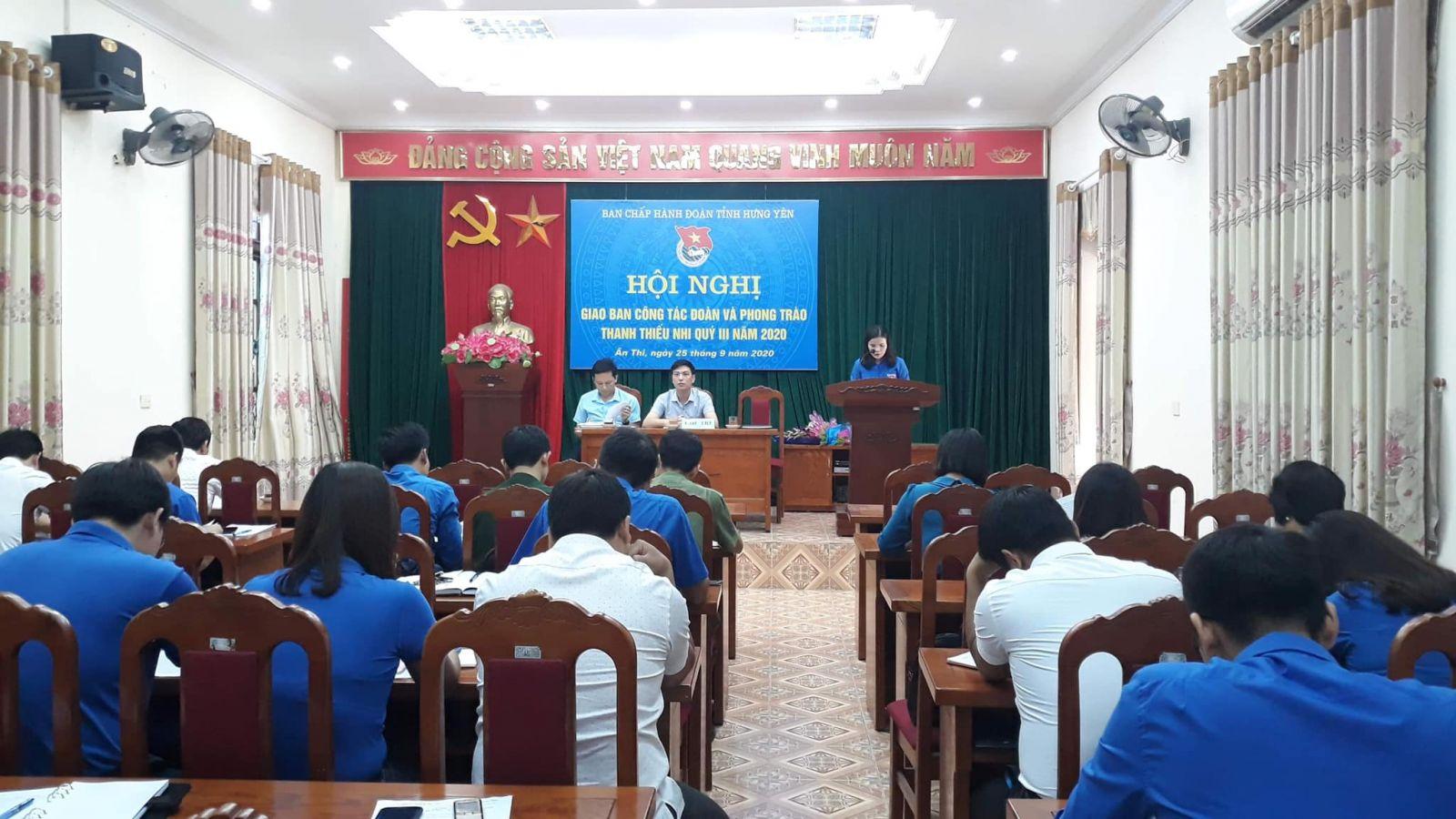 HỘI NGHỊ GIAO BAN CÔNG TÁC ĐOÀN VÀ PHONG TRÀO THANH THIẾU NHI QUÝ III/2020