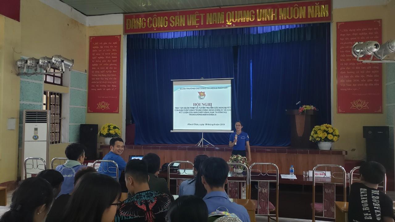 Đoàn trường Cao đẳng Cơ điện và Thủy lợi tổ chức hội nghị học tập, quán triệt và tuyên truyền các Nghị quyết Ban Chấp hành Trung ương Đảng khóa XII và các Kết luận của Ban Chấp hành, Ban Thường vụ Trung ương Đoàn khóa XI