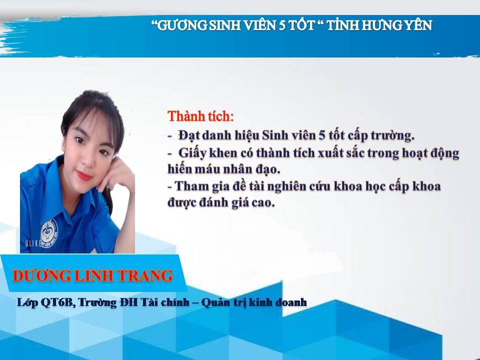 Gương sinh viên 5 tốt Dương Linh Trang - Trường ĐH Tài chính - Quản trị Kinh doanh