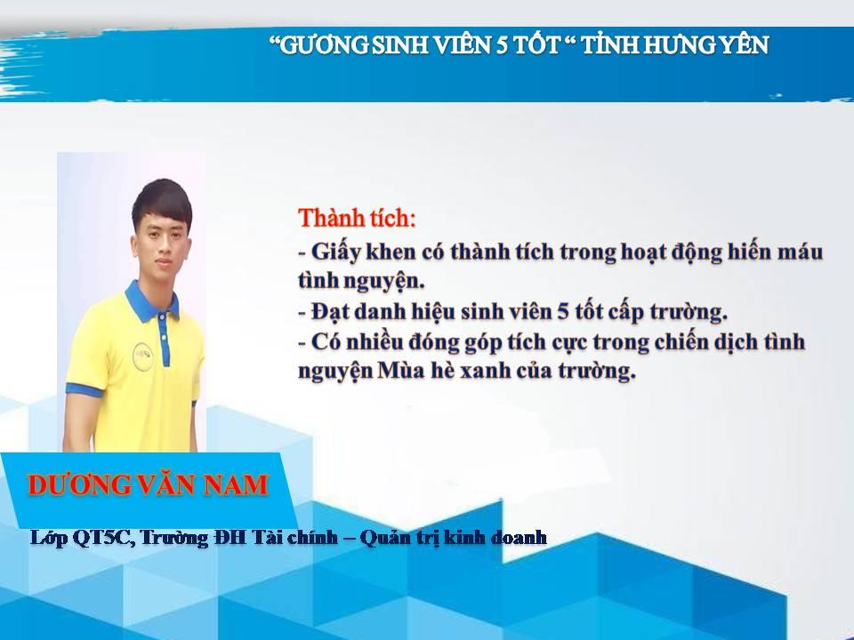 Gương sinh viên 5 tốt Dương Văn Nam - Trường ĐH Tài chính - Quản trị Kinh doanh
