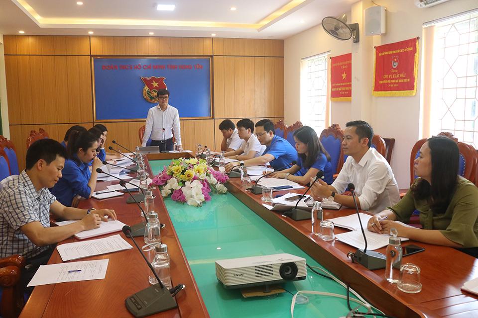 Đồng chí Bùi Quang Huy - Bí thư BCH Trung ương Đoàn và Đoàn khảo sát Trung ương Đoàn làm việc tại Tỉnh đoàn Hưng Yên