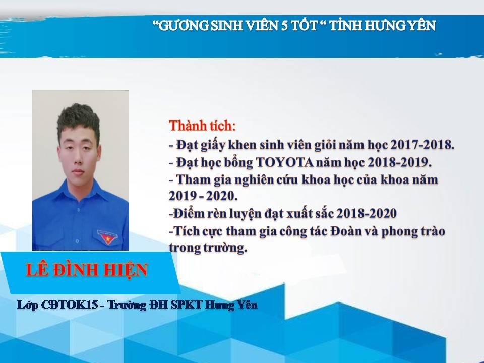Gương sinh viên 5 tốt Lê Đình Hiện - Trường ĐH Sư phạm Kỹ thuật Hưng Yên
