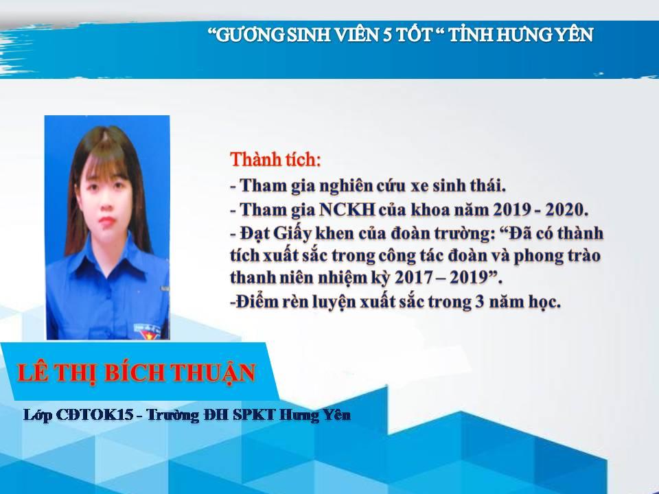Gương sinh viên 5 tốt Lê Thị Bích Thuận - Trường ĐH Sư phạm Kỹ thuật Hưng Yên