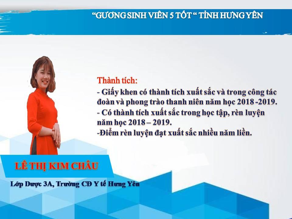 Gương sinh viên 5 tốt Lê Thị Kim Châu - Trường CĐ Y Tế Hưng Yên