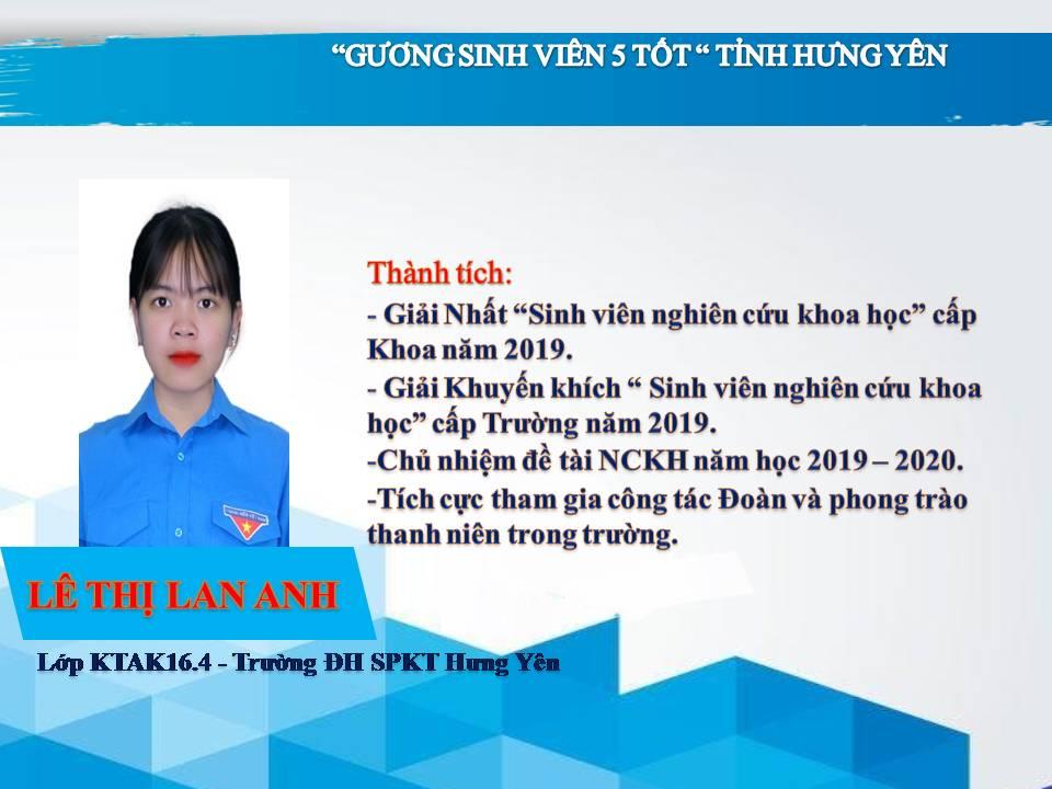 Gương sinh viên 5 tốt Lê Thị Lan Anh - Trường ĐH Sư phạm Kỹ thuật Hưng Yên