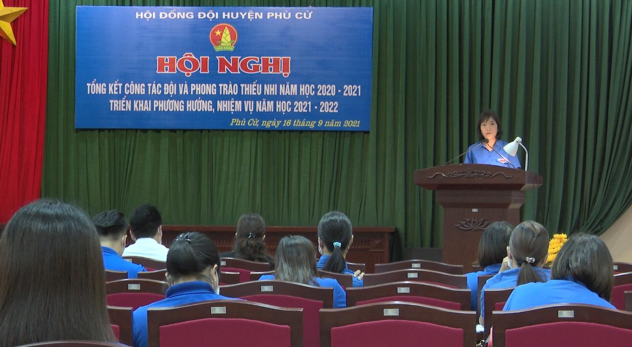 Hội đồng Đội huyện Phù Cừ tổng kết công tác Đội và phong trào thiếu nhi  năm học 2020 - 2021, triển khai phương hướng, nhiệm vụ trọng tâm năm học 2021 - 2022