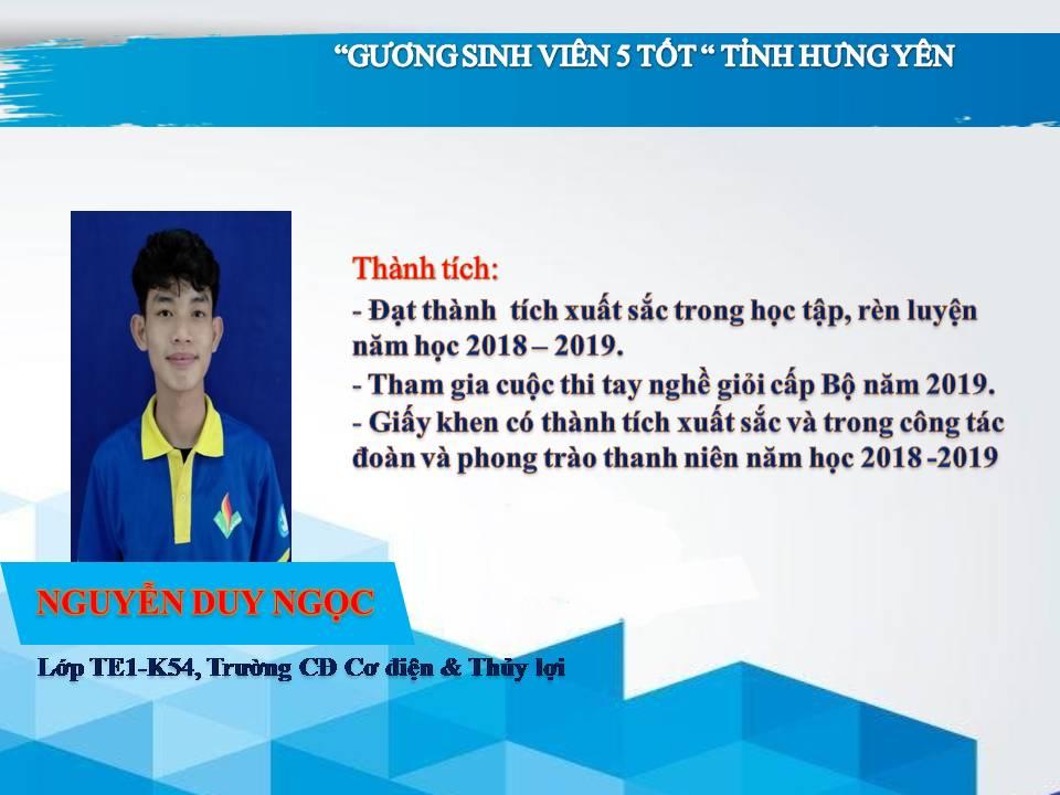 Gương sinh viên 5 tốt Nguyễn Duy Ngọc - Trường CĐ Cơ điện & Thủy lợi