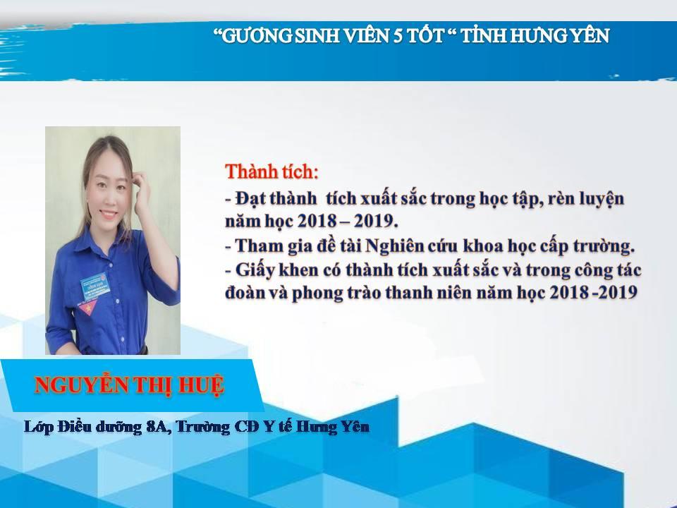 Gương sinh viên 5 tốt Nguyễn Thị Huệ - Trường CĐ Y tế Hưng Yên