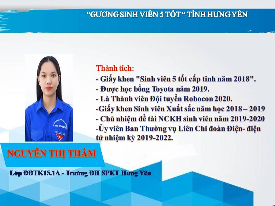 Gương sinh viên 5 tốt Nguyễn Thị Thắm - Trường ĐH Sư phạm Kỹ thuật Hưng Yên