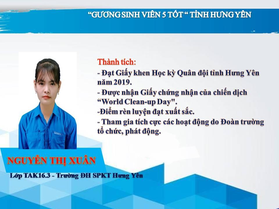 Gương sinh viên 5 tốt Nguyễn Thị Xuân - Trường ĐH Sư phạm Kỹ thuật Hưng Yên