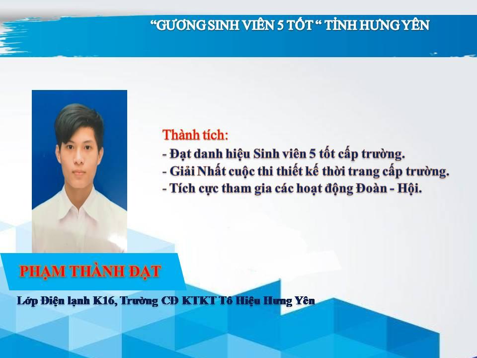 Gương sinh viên 5 tốt Phạm Thành Đạt - Trường CĐ Kinh tế Kỹ thuật Tô Hiệu