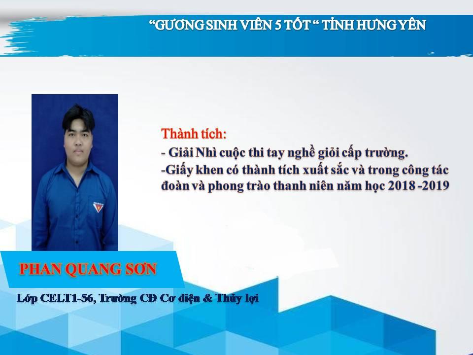 Gương sinh viên 5 tốt Phan Quang Sơn - Trường CĐ Cơ điện & Thủy lợi