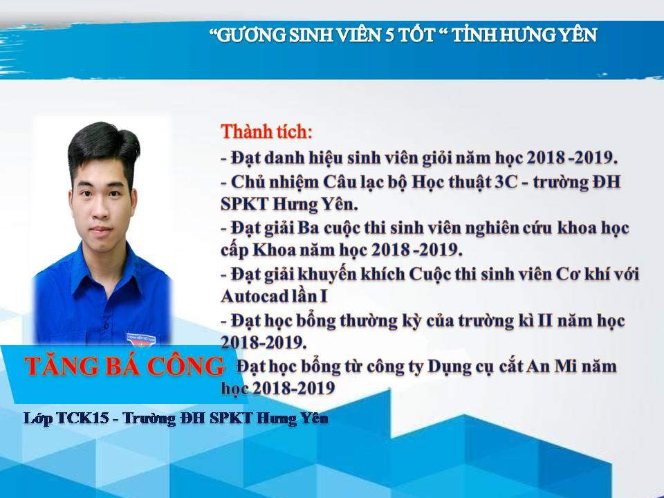Gương sinh viên 5 tốt Tăng Bá Công - Trường ĐH Sư Phạm Kỹ Thuật Hưng Yên
