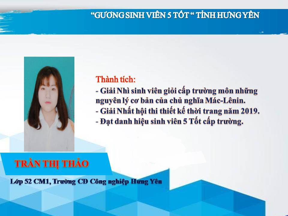 Gương sinh viên 5 tốt Trần Thị Thảo - Trường CĐ Công Nghiệp Hưng Yên