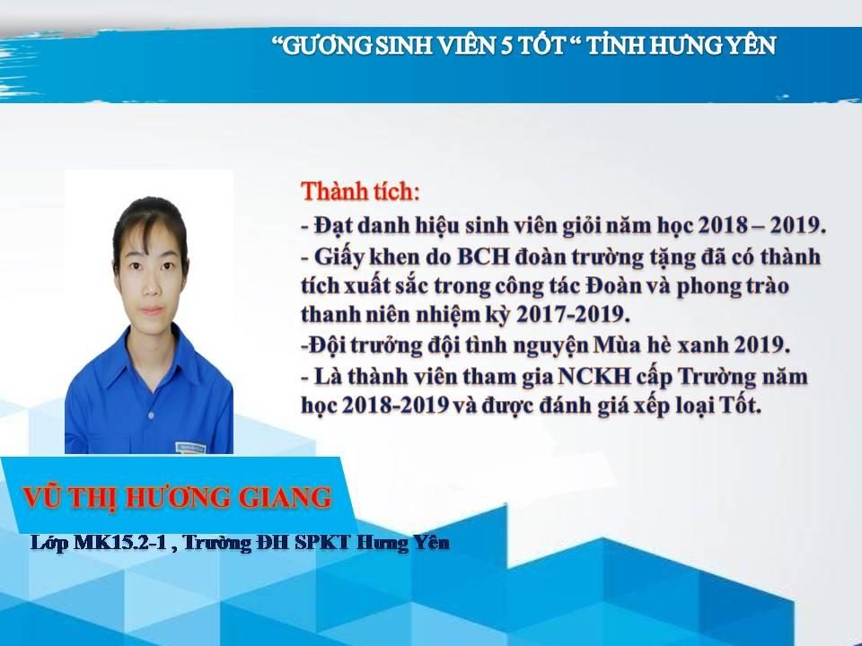 Gương sinh viên 5 tốt Vũ Thị Hương Giang - Trường ĐH Sư phạm Kỹ thuật Hưng Yên
