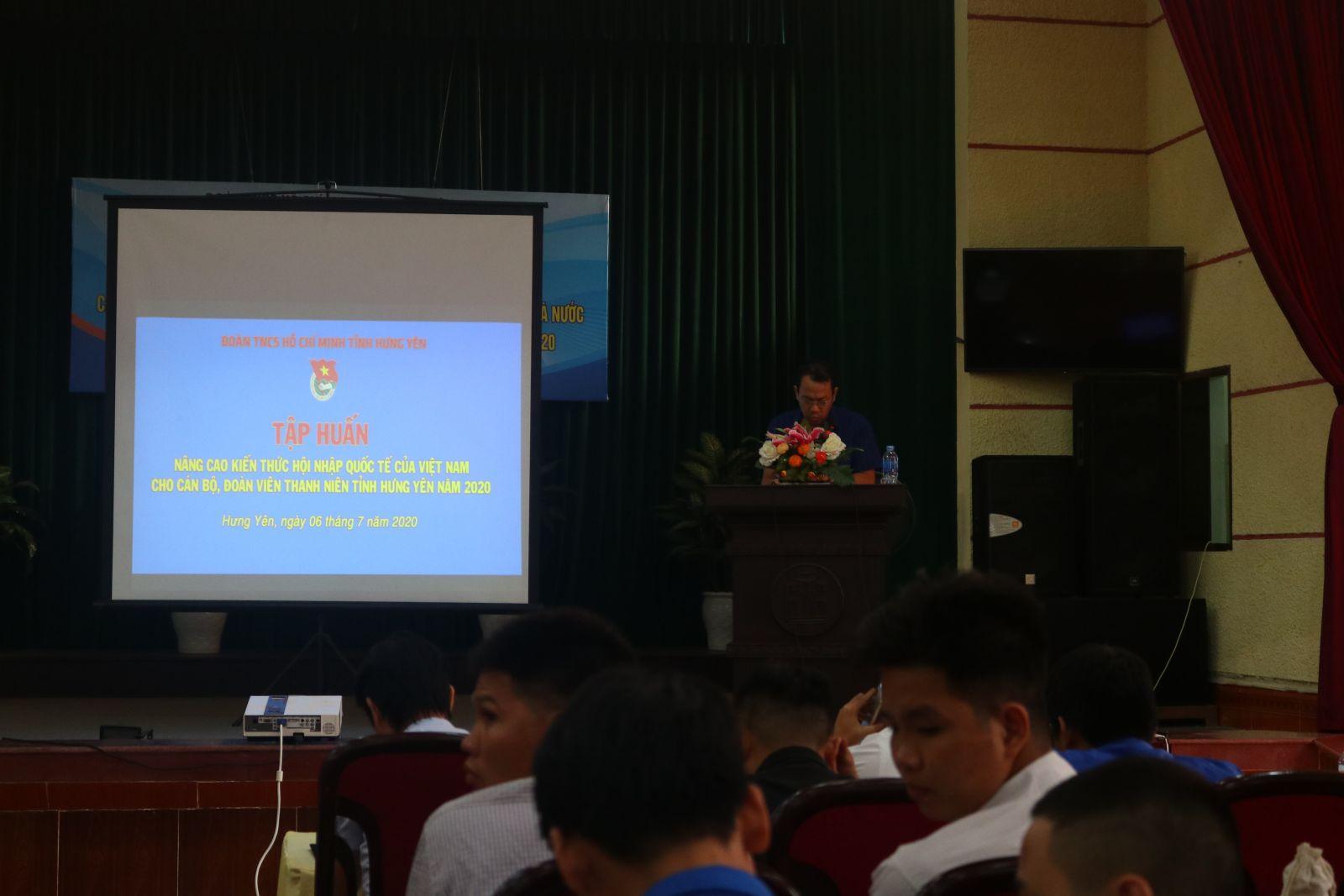 Tỉnh đoàn tập huấn nâng cao kiến thức về các nội dung hội nhập quốc tế của Việt Nam cho cán bộ, ĐVTN tỉnh Hưng Yên năm 2020