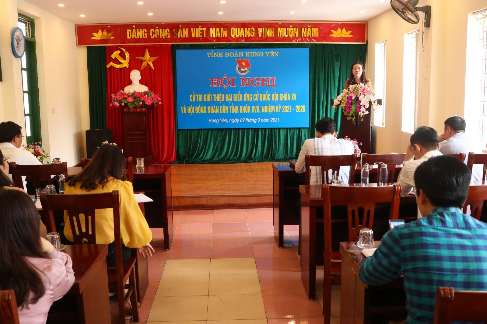 Tỉnh đoàn tổ chức hội nghị cử tri giới thiệu đại biểu Quốc hội khóa XV và  Hội đồng nhân dân tỉnh khóa XVII, nhiệm kỳ 2021 - 2026