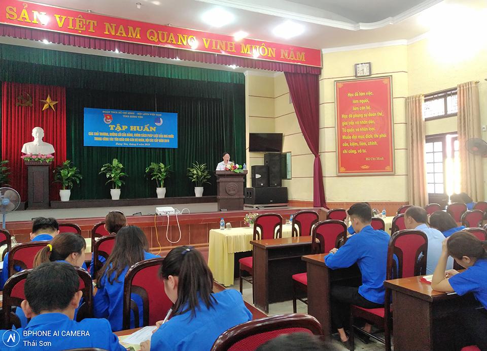 Ban Thường vụ Tỉnh đoàn, Hội LHTN Việt Nam tỉnh tổ chức lớp tập huấn các chủ trương, đường lối của Đảng, chính sách pháp luật của nhà nước trong công tác tôn giáo cho cán bộ Đoàn, Hội các cấp năm 2019