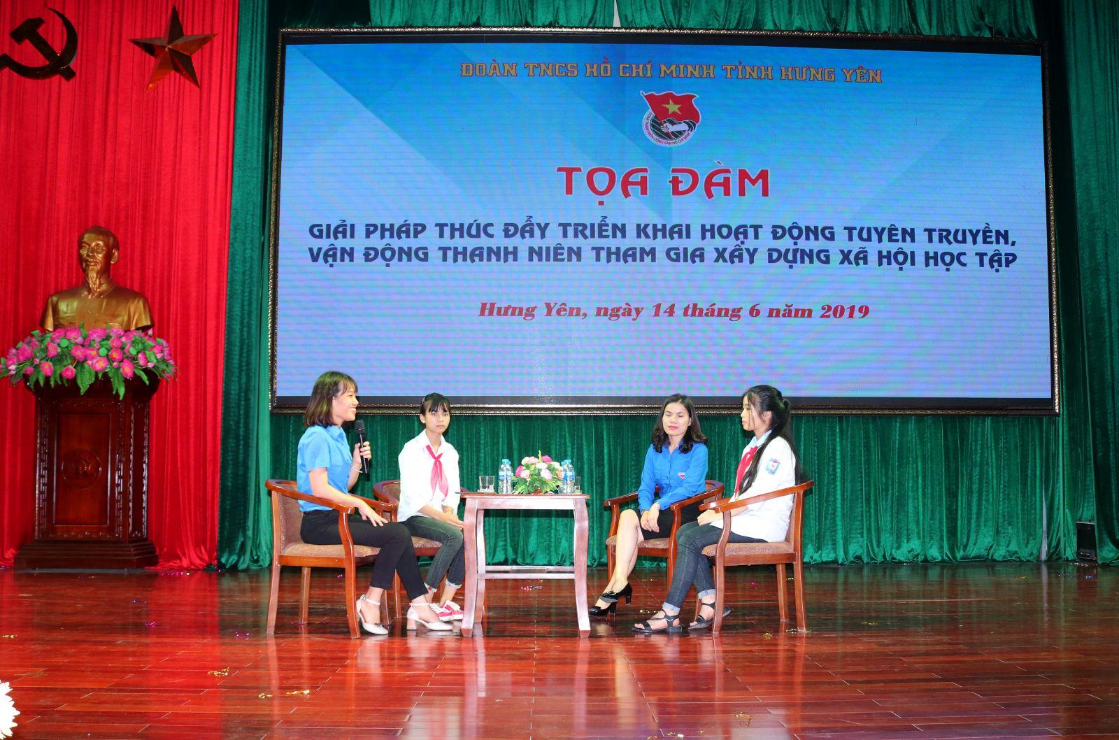 """Tọa đàm """"Giải pháp thúc đẩy triển khai hoạt động tuyên truyền,  vận động thanh niên tham gia xây dựng xã hội học tập"""" tỉnh Hưng Yên năm 2019"""